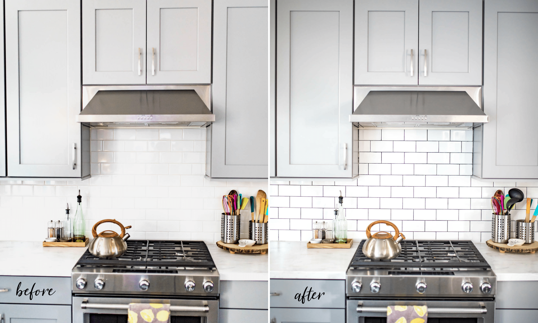 Backsplash Tile Refresh How To Make White Tile Pop For Under 20 Never Skip Brunch White Modern Kitchen White Subway Tile Kitchen Kitchen Plans