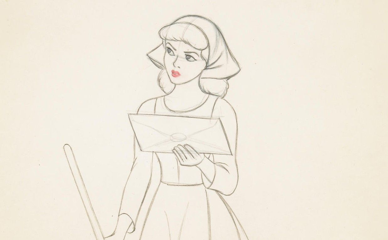 Line Drawing Of Female Face : Walt disney drawing from cinderella the beauty in these simple