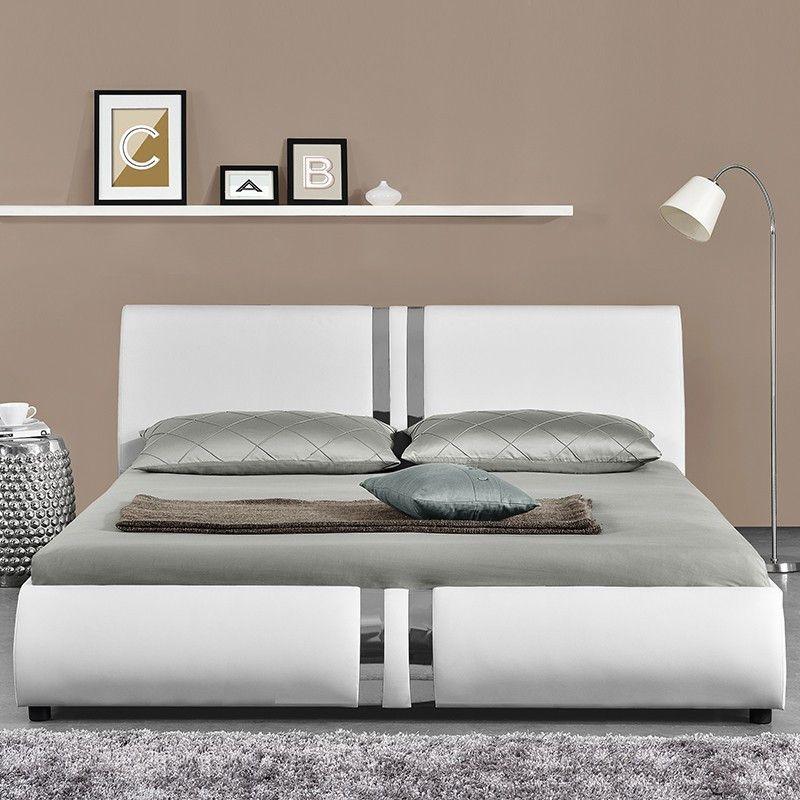 Lit Design Blanc Musty 140x190 Cm Lit Design Lit Blanc Modele De Lit