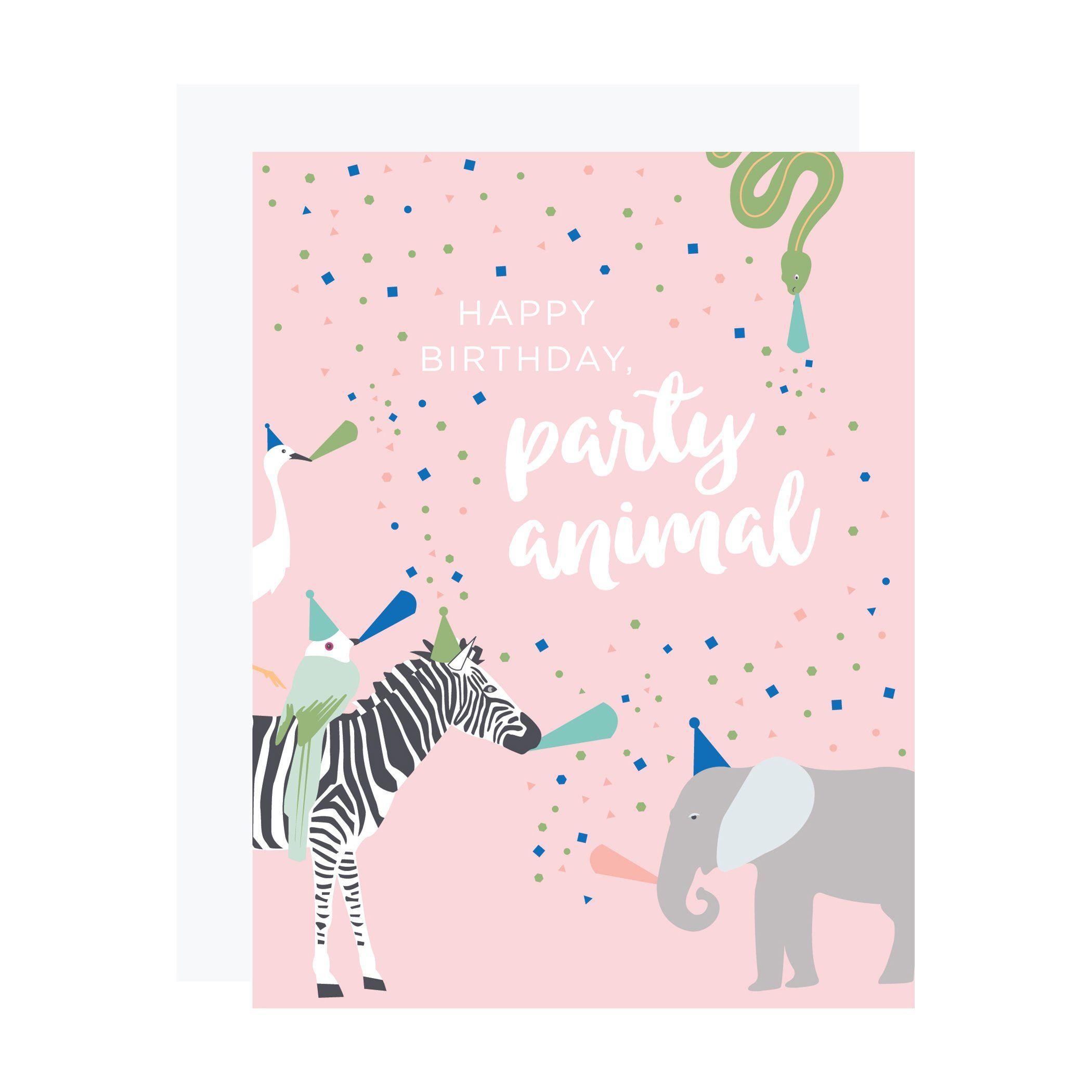 Party Zebra Birthday Card Zebra Birthday Birthday Cards Animal