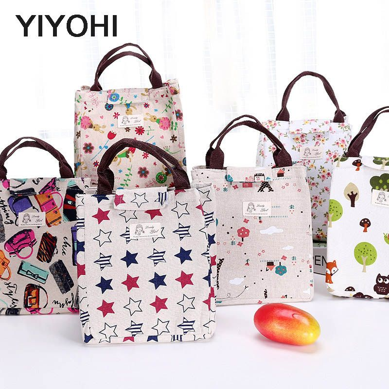 YIYOHI Women Portable Lunch Bag Creative Cute Flower Insulated Cooler Bag Thermal Food Picnic Lunch Bags Kids Lunch Box Bag Tote