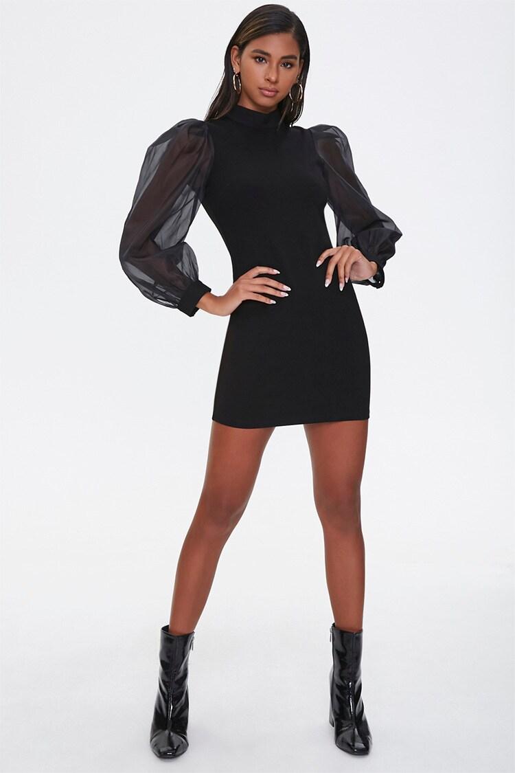Sheer Sleeve Mini Dress Forever 21 In 2020 Mini Dress With Sleeves Sheer Sleeve Mini Dress Gogo Dress [ 1125 x 750 Pixel ]