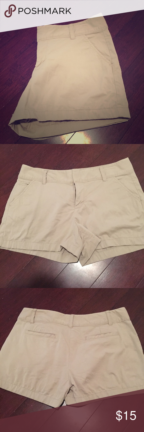 """Caslon shorts Tan Oxford Caslon shorts, zip fly with hook and bar closure, front slant pockets and back welt pockets, 97% cotton and 3 % spandex, wide top stitched hems, 9"""" front rise, 11"""" back rise, 10"""" leg opening, 17"""" waist, purchased at Nordstroms. Caslon Shorts"""