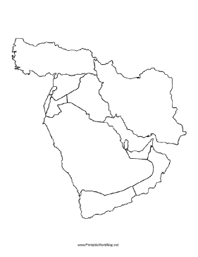 Small blank map of the Middle East with borders indicated Ed