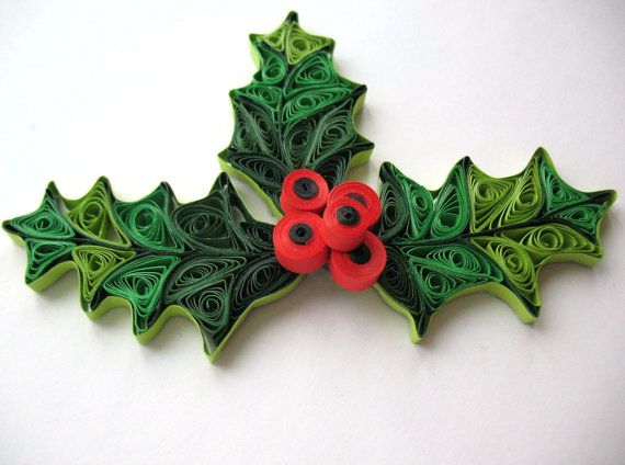 Quilled mistletoe christmas decoration holiday ornaments for Decoration quilling