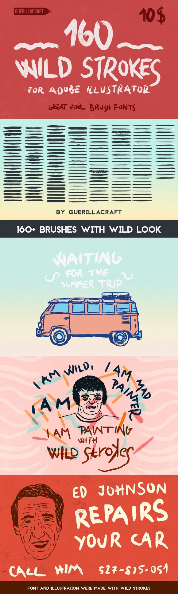 160 Wild Strokes for Illustrator. Photoshop Brushes. $10.00