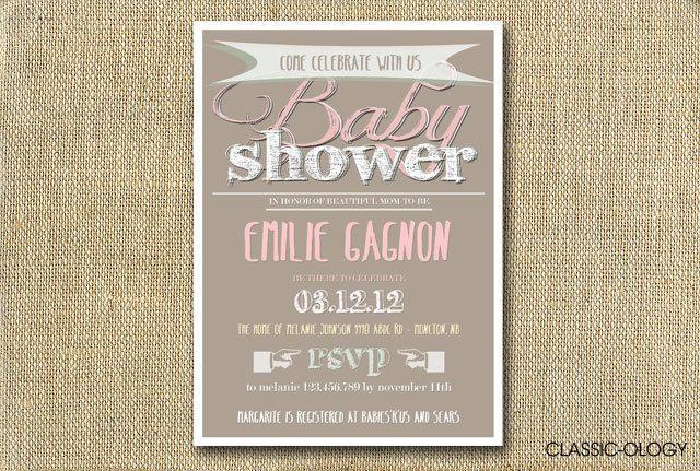 Typography Baby Shower Invitations - Printable Digital Invitation. $15.00, via Etsy.