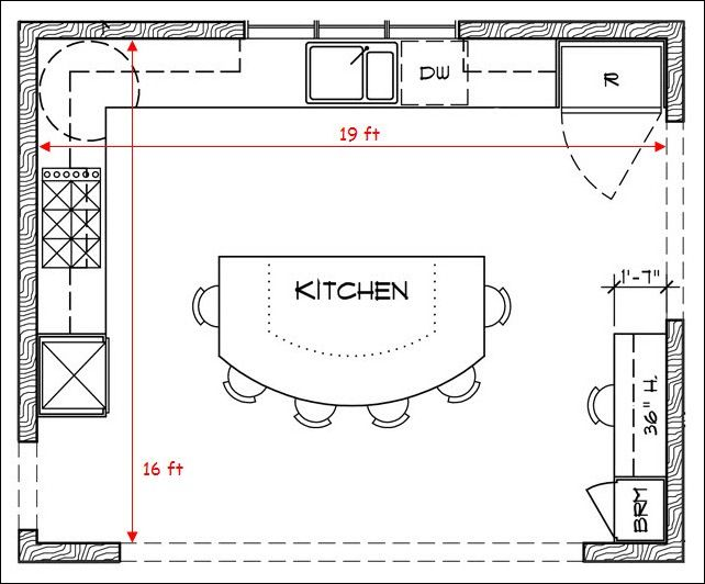 L shaped kitchen floor plans with island and some stool for Kitchen floor plan layout