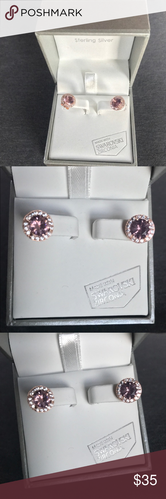 New Sterling Silver With Swarovski Zirconia Charming Earrings Plated Rose Gold Tone Stones Kiera Couture