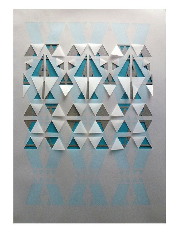 Sarah Louise Matthews, 29.7 x 21cm, 3-layer papercut featuring a top layer of vellum with a cut and folded geometric tribal inspired pattern, over a metallic shimmer graphite-grey coloured sheet of paper with geometric cut out design