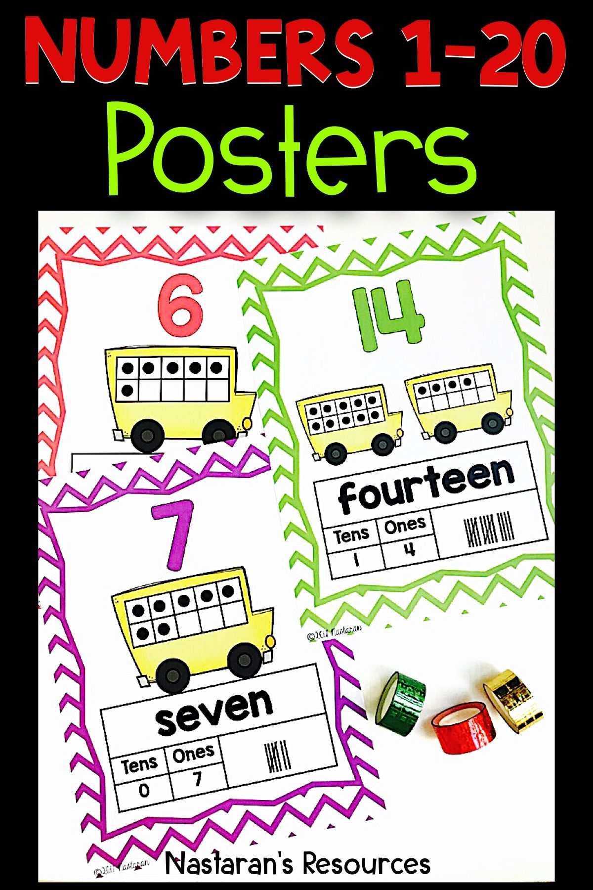 Numbers 1 20 Posters With Ten Frame