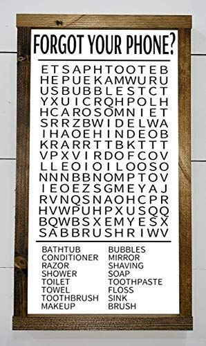 Photo of New Forgot Your Phone, Bathroom word search, Word find, Funny bathroom, Farmhouse wood sign, 10 inches 18 inches online shopping – Wehaveover