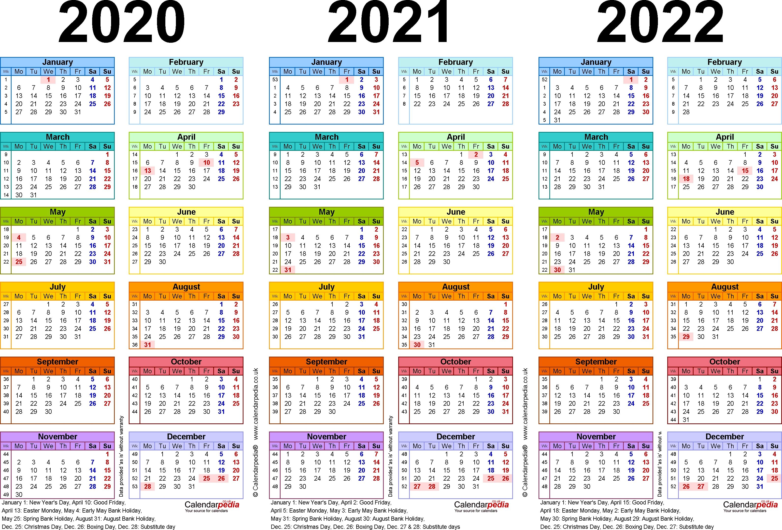 Dashing 3 Year Calendar 2020 To 2022 Calendar Printables School Calendar Calendar Uk