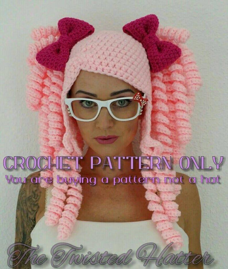 Crochet Pigtail Hat PATTERN please read description before buying