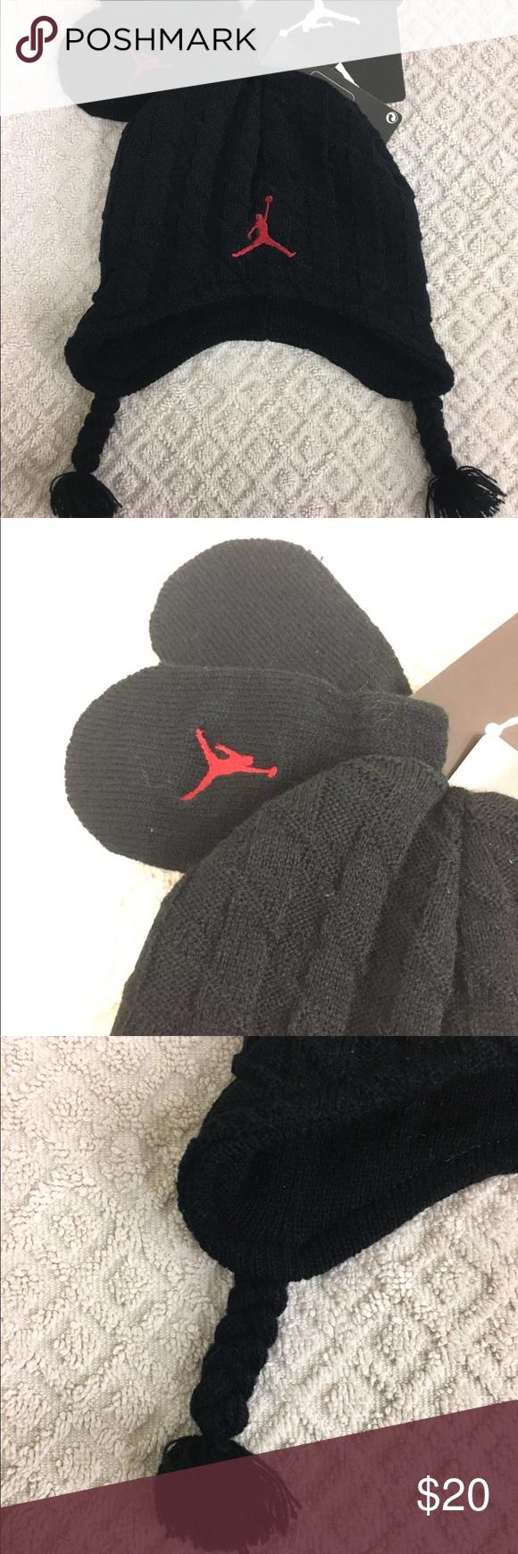 8bd325f839d Jordan Black Red Hat   Mitten Set NEW Infant 12-24 NIKE Jordan Peruvian