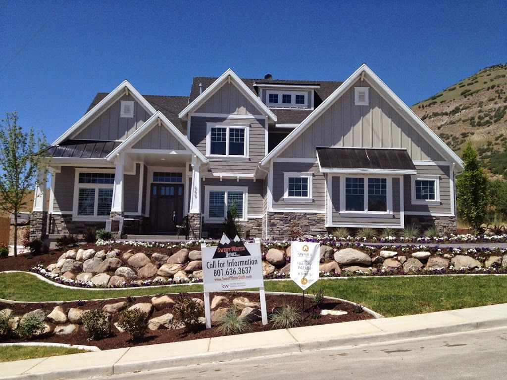 Houses with cultured stone grey homes craftsman style for Craftsman house plans utah