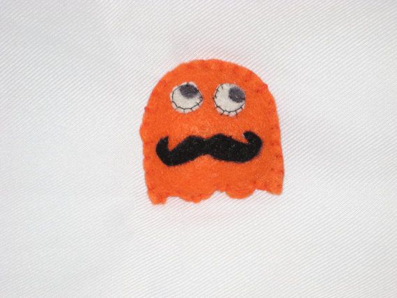 Packman Felt Brooch  Pin The Orange Ghost with by melsumn1 on Etsy, $5.75