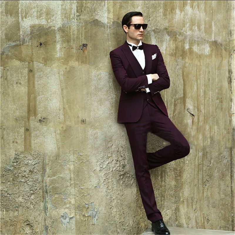 Slim Fit Burgundy Men\'s Dinner Party Prom Suits Groom Tuxedos ...