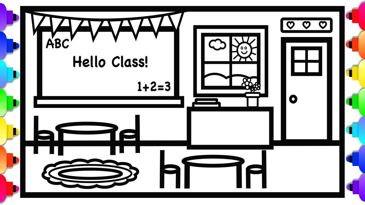 School Classroom Coloring And Drawing For Kids