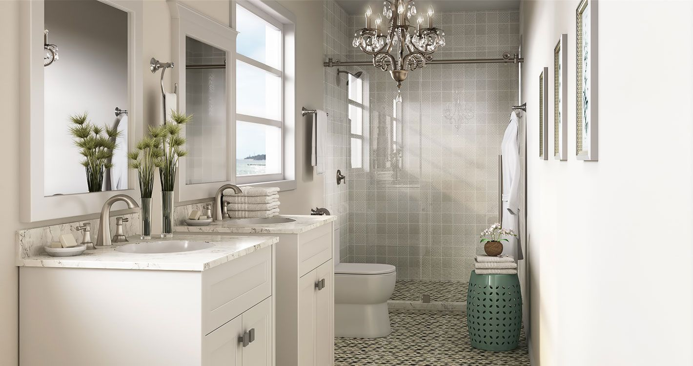 Shop Our Decor Department To Customize Your Modest Master Today At The Home Depot Bathroom Renovations Small Space Bathroom Small Bathroom Remodel