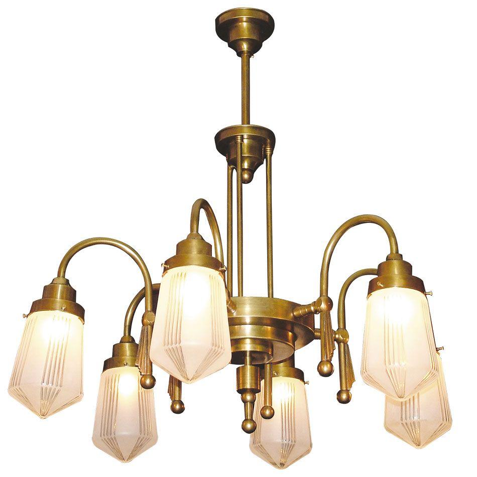 Art déco leuchter mit dekorschliffgläsern alto adige 6 von art nouveau lamps foto