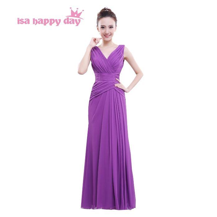 ladies elegant sexy chiffon long purple bridesmaid long length ...