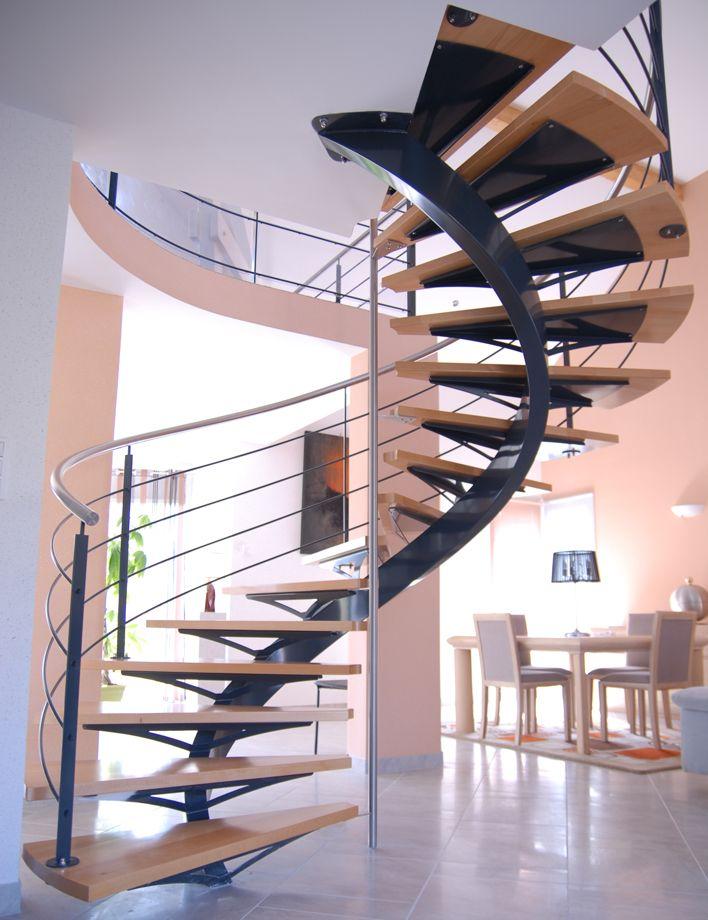 Escalier à limon centrale courbe | Stairways | Pinterest ...