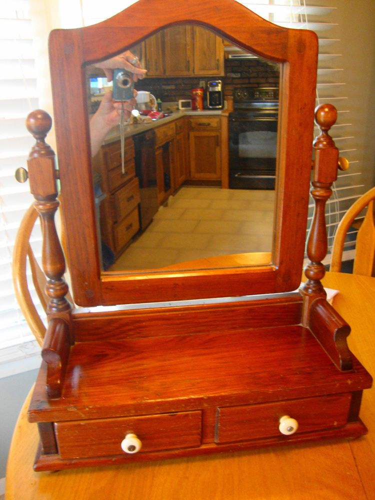 Vintage Ethan Allen Pine Shaving Mirror On Stand With Drawer