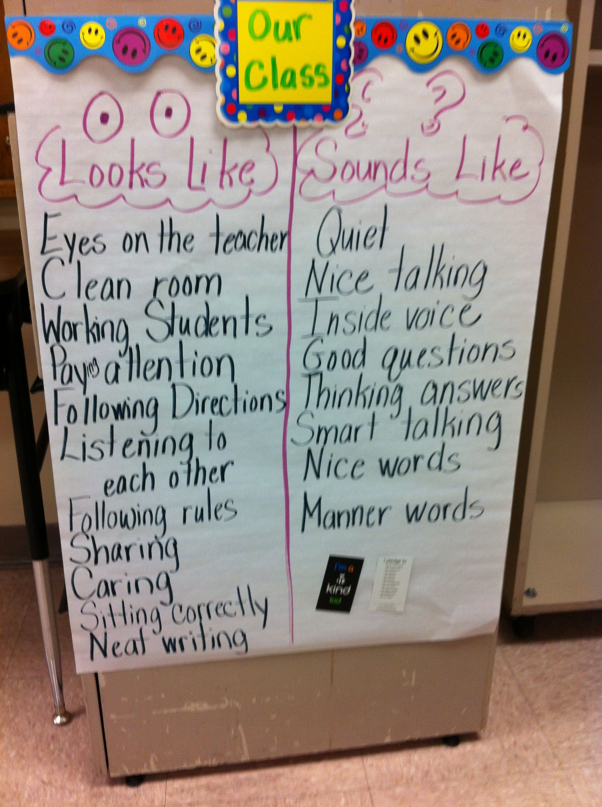 Class Behavior Anchor Chart I photograph this after we ...