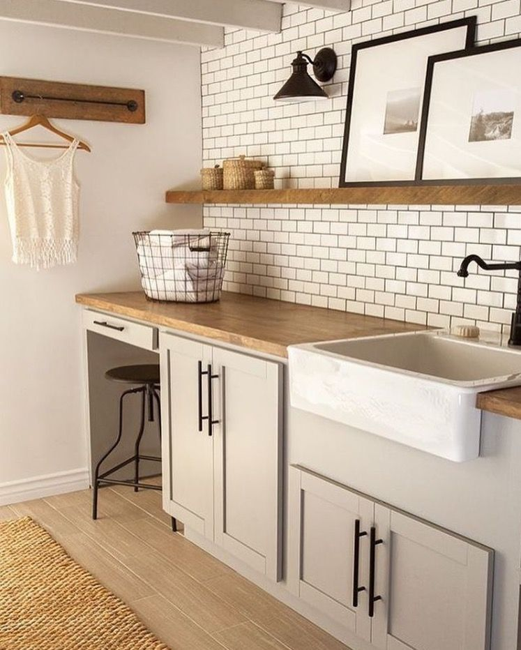 Butcher Block Countertops And Subway Tile Laundry Room Decor
