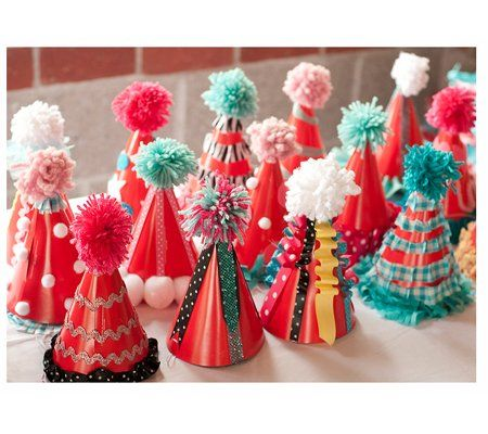 you can take plain party hats and make them into spectacular circus