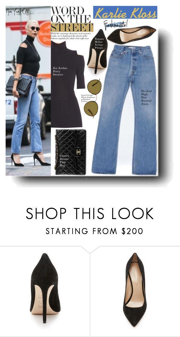 Walk In Style With Karlie Kloss By Swweetalexutza Liked On Polyvore Featuring Zoa Jordan Chanel Garrett Leight Tam Sweater Shop Zoe Jordan Street Style