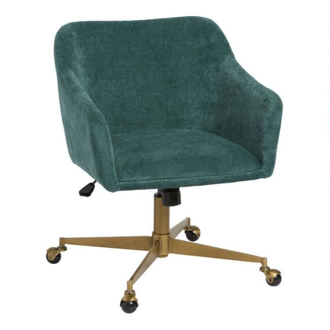 With A Clean Minimal Profile And Plush Chenille Like Fabric Upholstery Our Zarek Office Chair Offers Upholstered Office Chair Home Office Chairs Office Chair