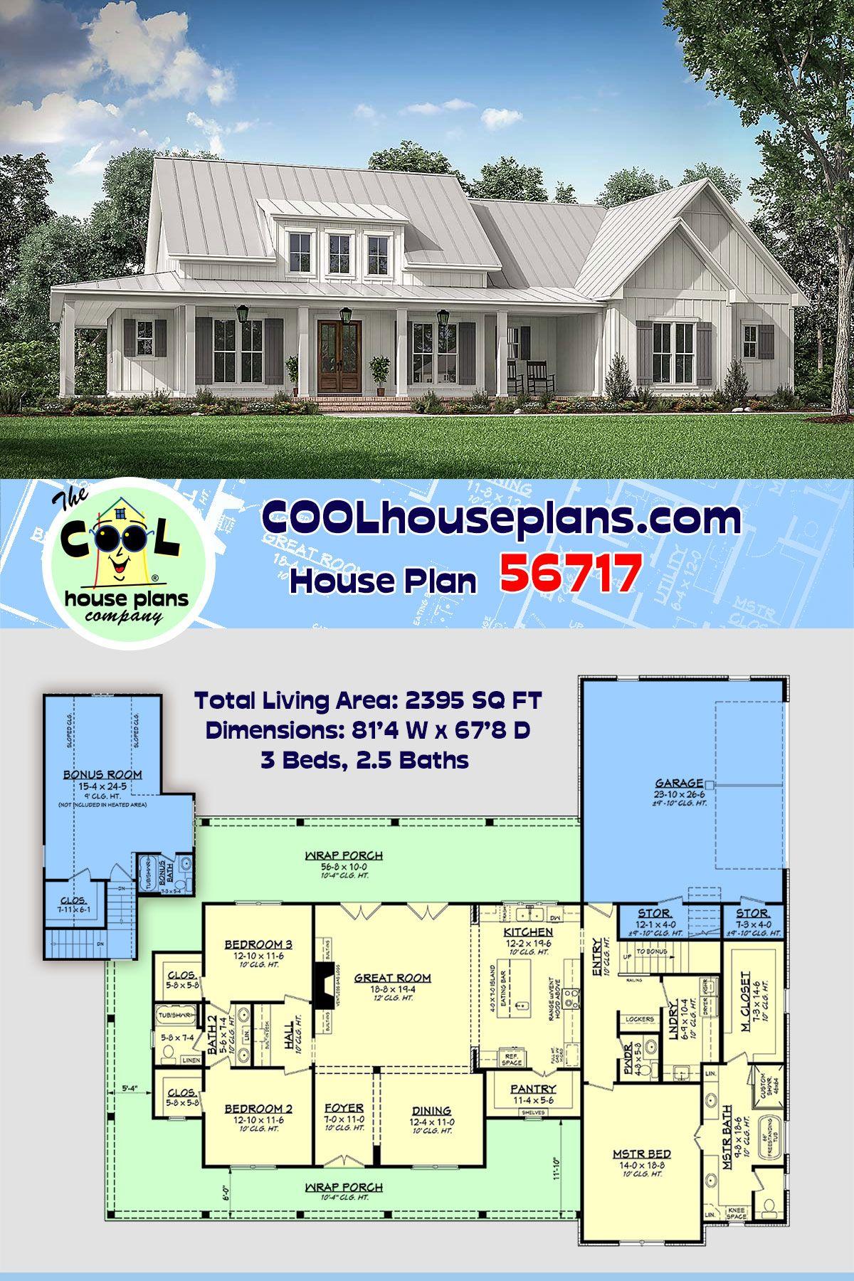 Farmhouse Style House Plan 56717 With 3 Bed 3 Bath 2 Car Garage In 2020 Farmhouse Style House My House Plans Farmhouse Plans