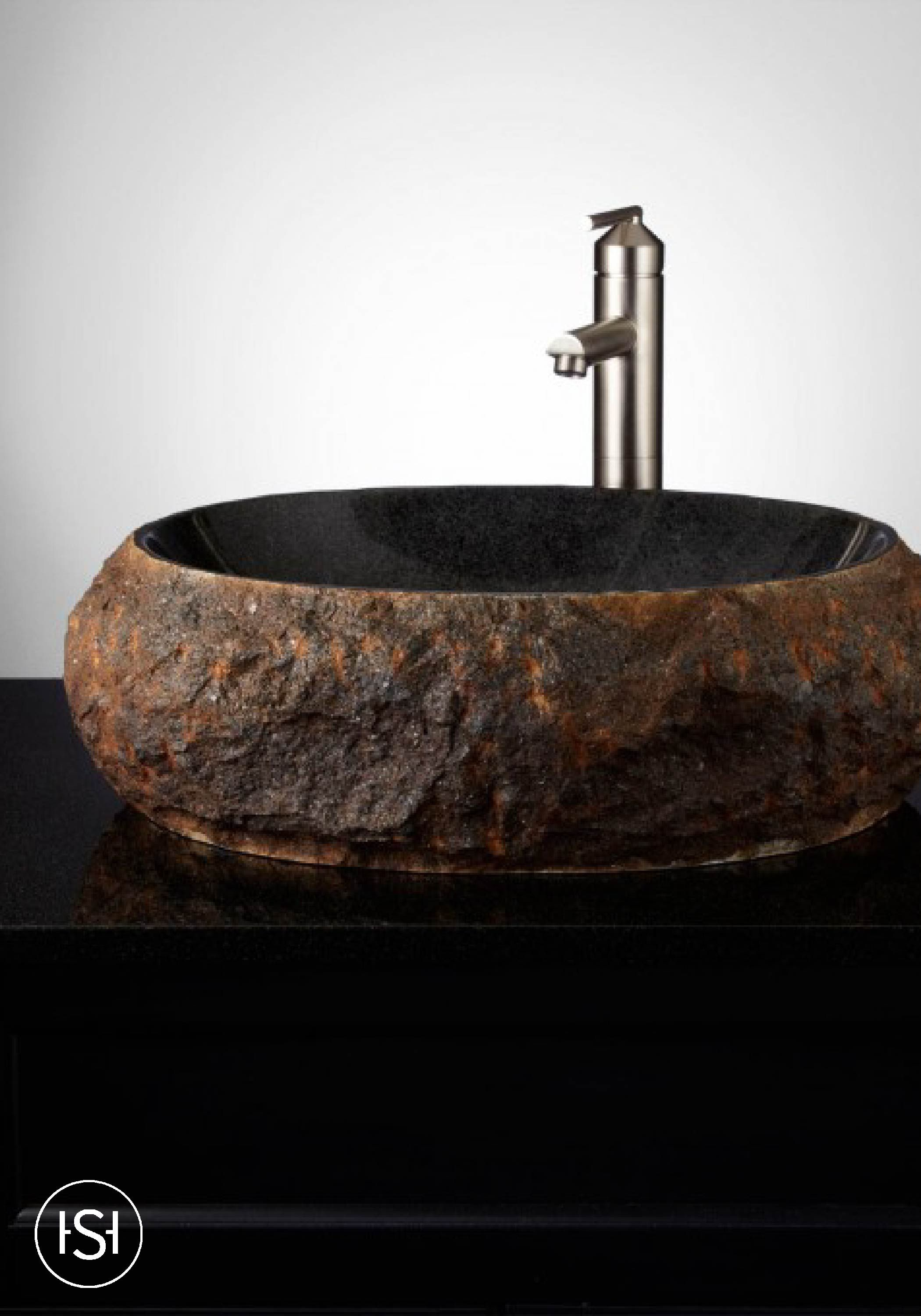 River Stone Vessel Sink Bathroom Natural Stone Sinks In