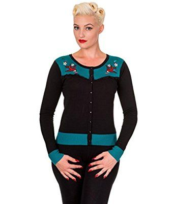 BANNED Embroidered SWALLOW Fine Knit Cardigan Rockabilly Top