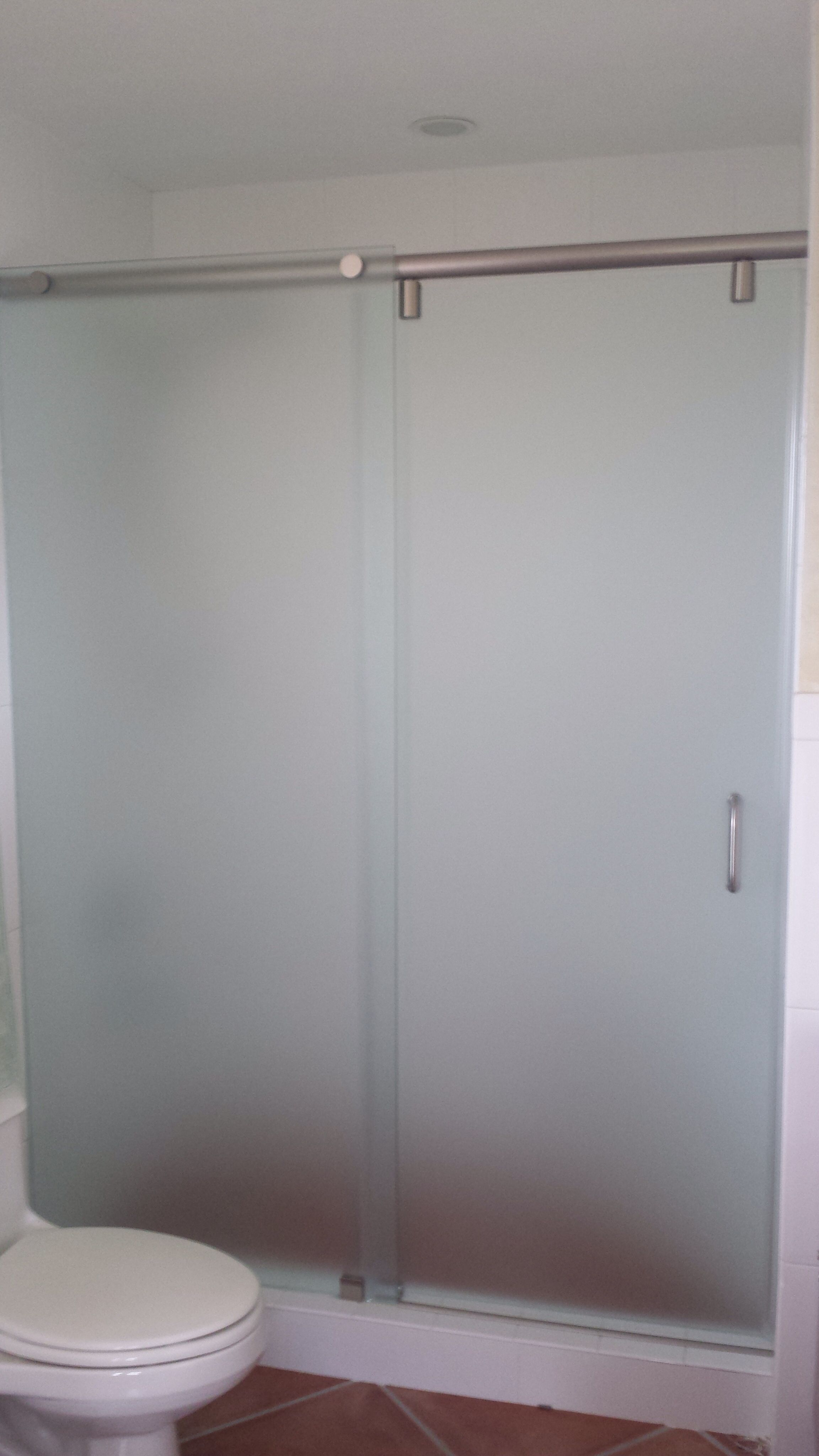 Acid Etched Frameless Hydroslide Shower Door Frameless