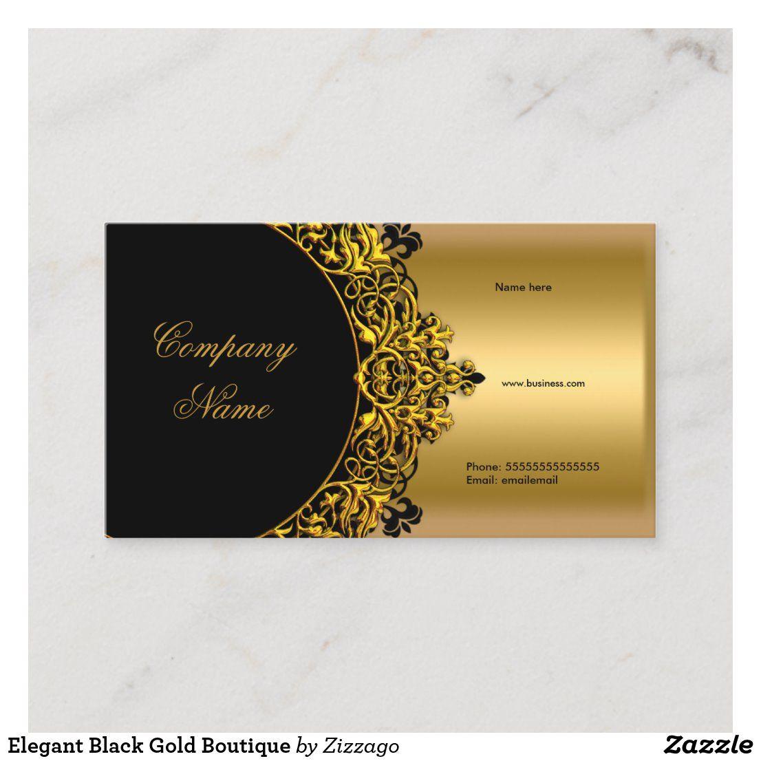 Elegant Black Gold Boutique Business Card Zazzle Com