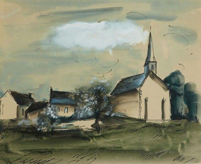 Maurice de Vlaminck (France 1876-1958) Eglise dans un village (1920-22) watercolour, gouache, and ink on paper