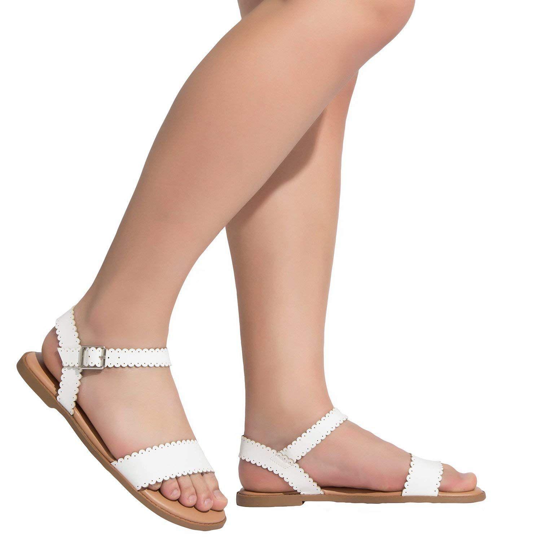 6cb492abcc647 Amazon.com | Women's Wide Width Flat Sandals - Comfortable Open Toe ...