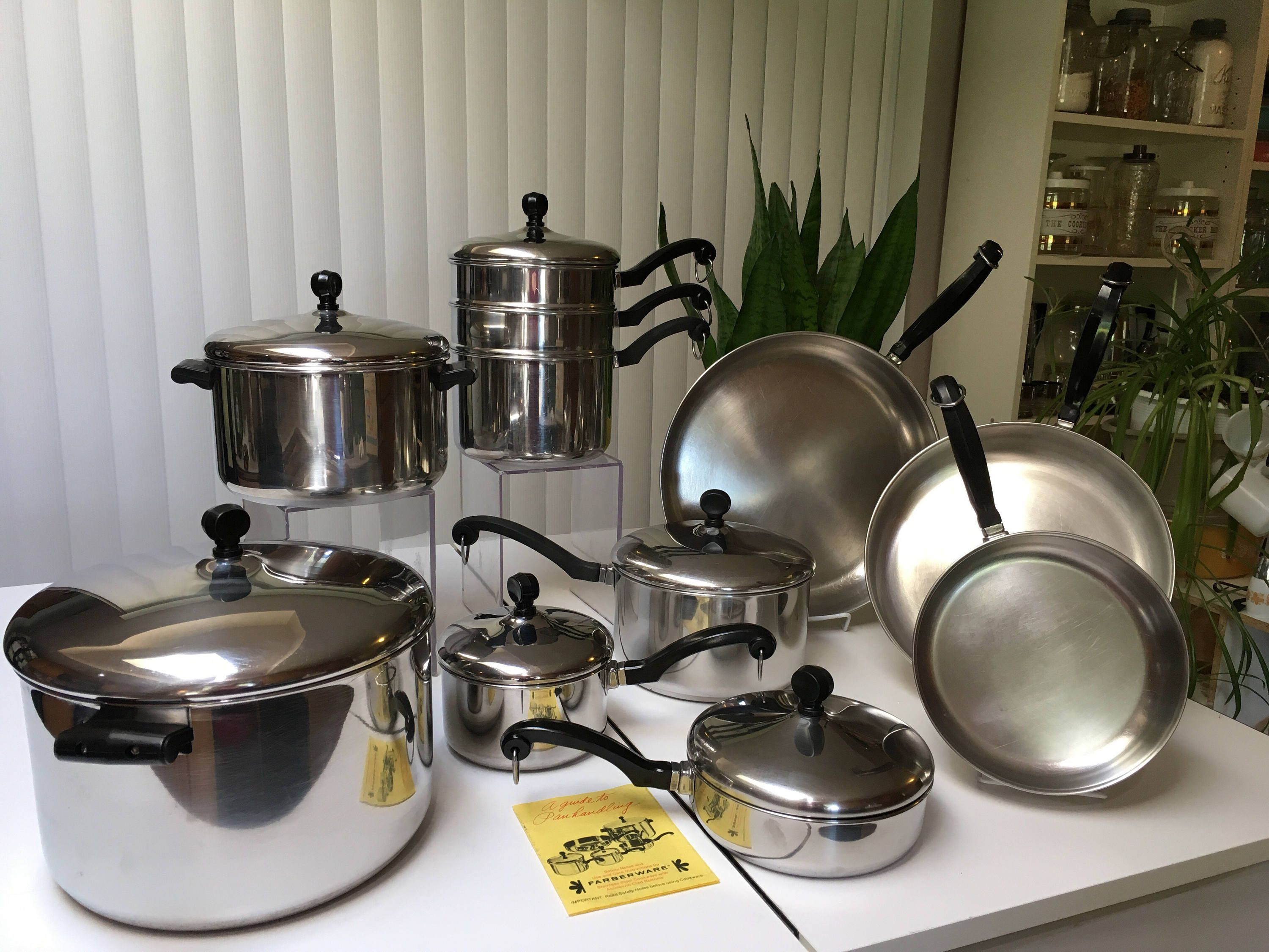 Vintage Farberware Cookware Set 17pc Stainless Steel Aluminum Clad Usa Made Ny By Retroreplacements On Etsy