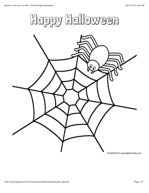 Halloween Coloring Page With A Spider On A Web And The Words Happy Halloween Spider Coloring Page Halloween Coloring Pages Spider Template
