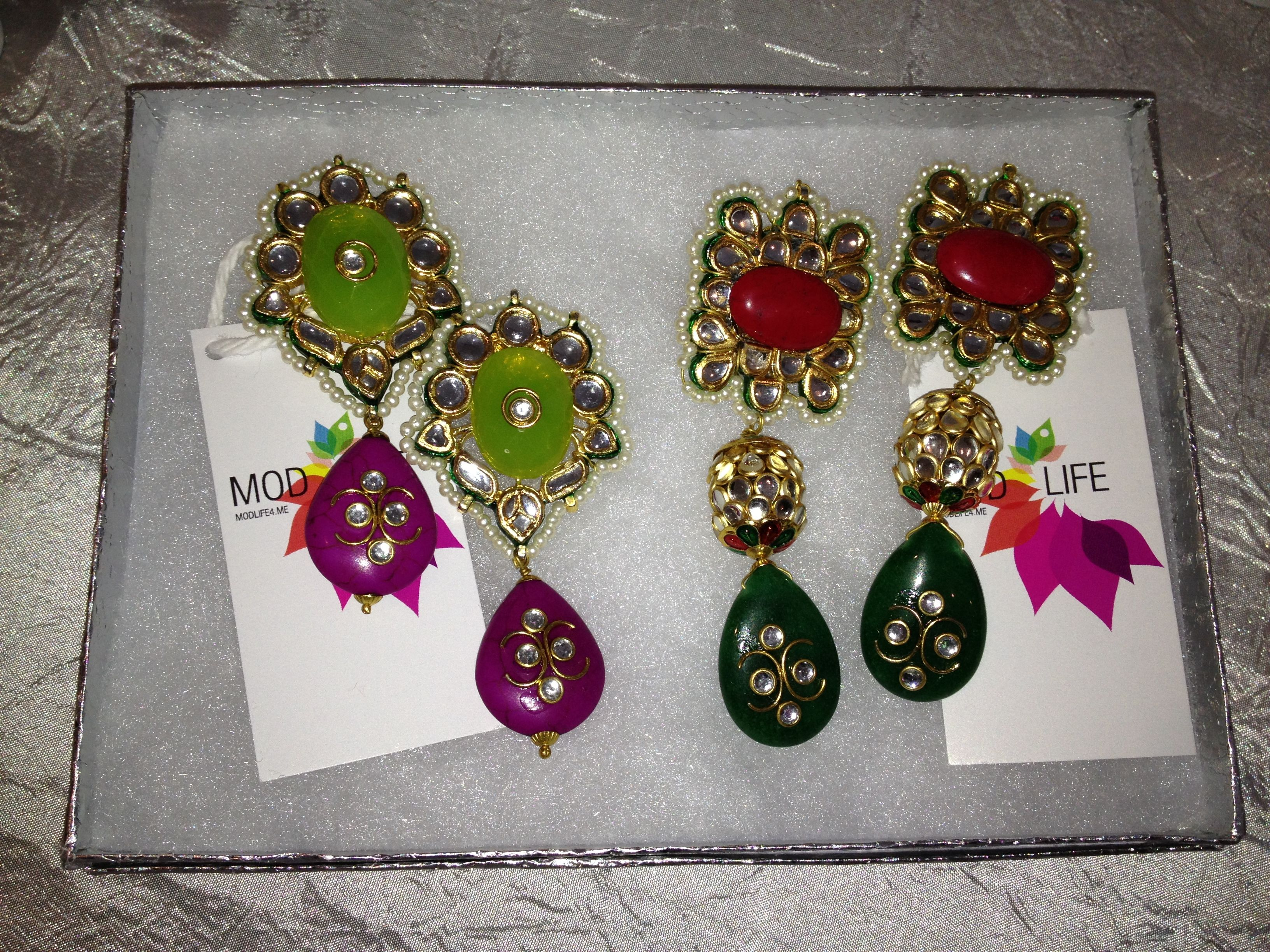 Pack a Punch Earrings in Pink and Purple!    Get all the glitz & glam at http://www.modlife4.me #modlife4me