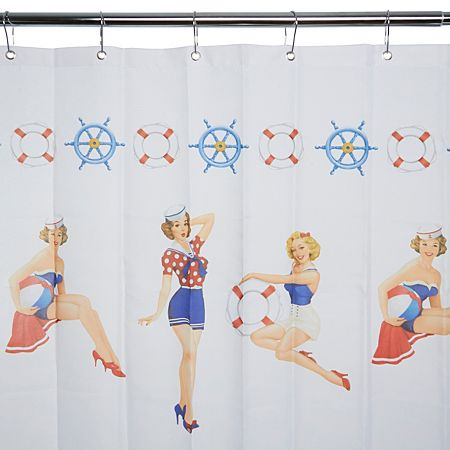 George Home Sailor Pin-Up Girls Shower Curtain - George Home Sailor Pin-Up Girls Shower Curtain For The Home