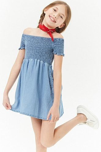 bf0bcfd07b1ee1 Girls Chambray Smocked Off-the-Shoulder Dress (Kids)