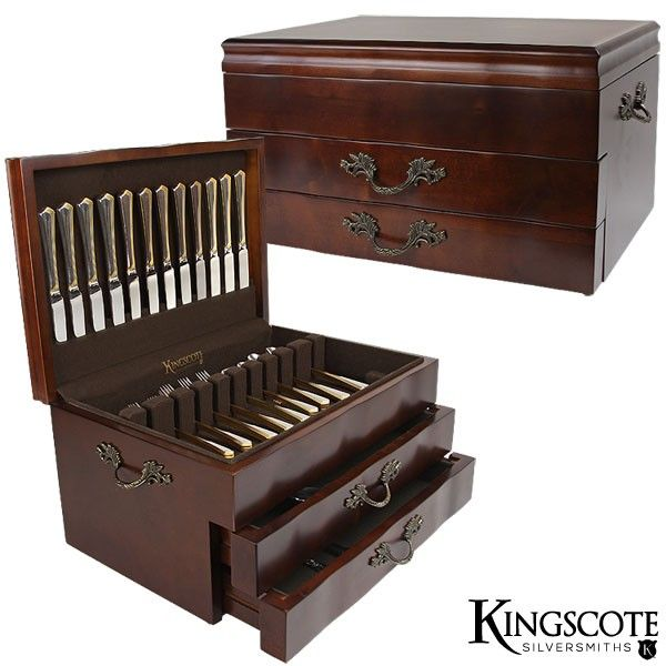 Best Kingscote Silversmiths Jamestown 2 Drawer Flatware Chest 640 x 480