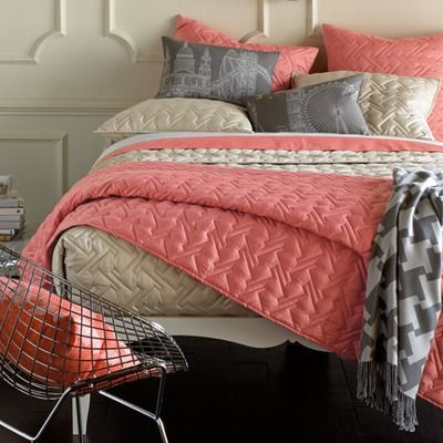Love the combo of salmon cream and grey | Bedroom Colors | Pinterest ...