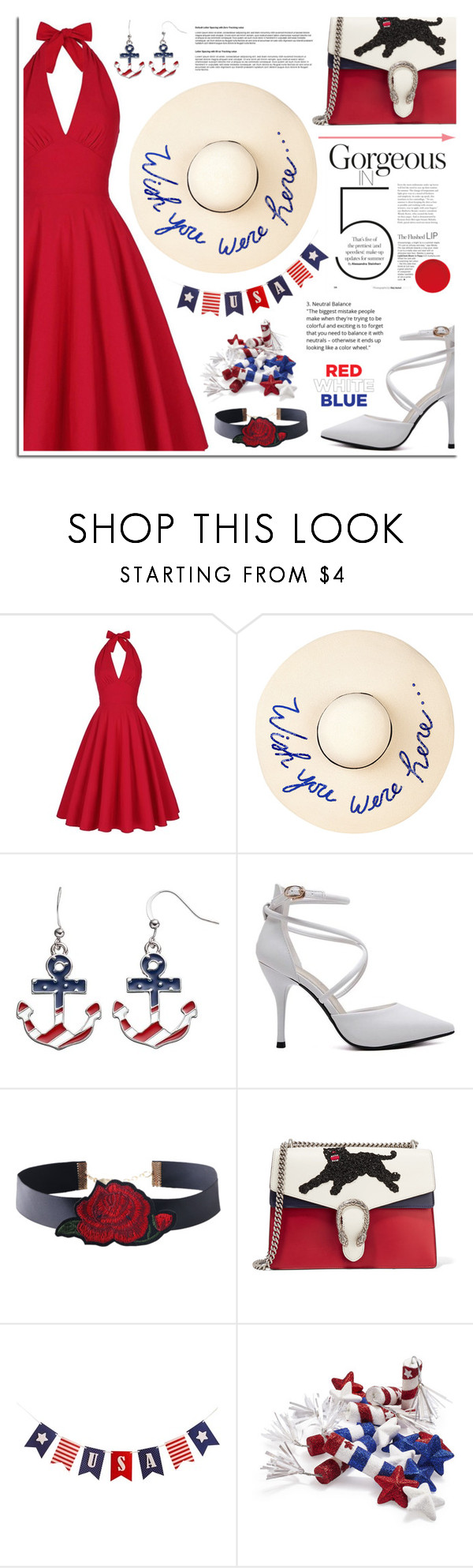 """Red, White & Blue: Celebrate the 4th!"" by dora04 ❤ liked on Polyvore featuring Eugenia Kim, Gucci, Sur La Table, fourthofjuly and rosegal"
