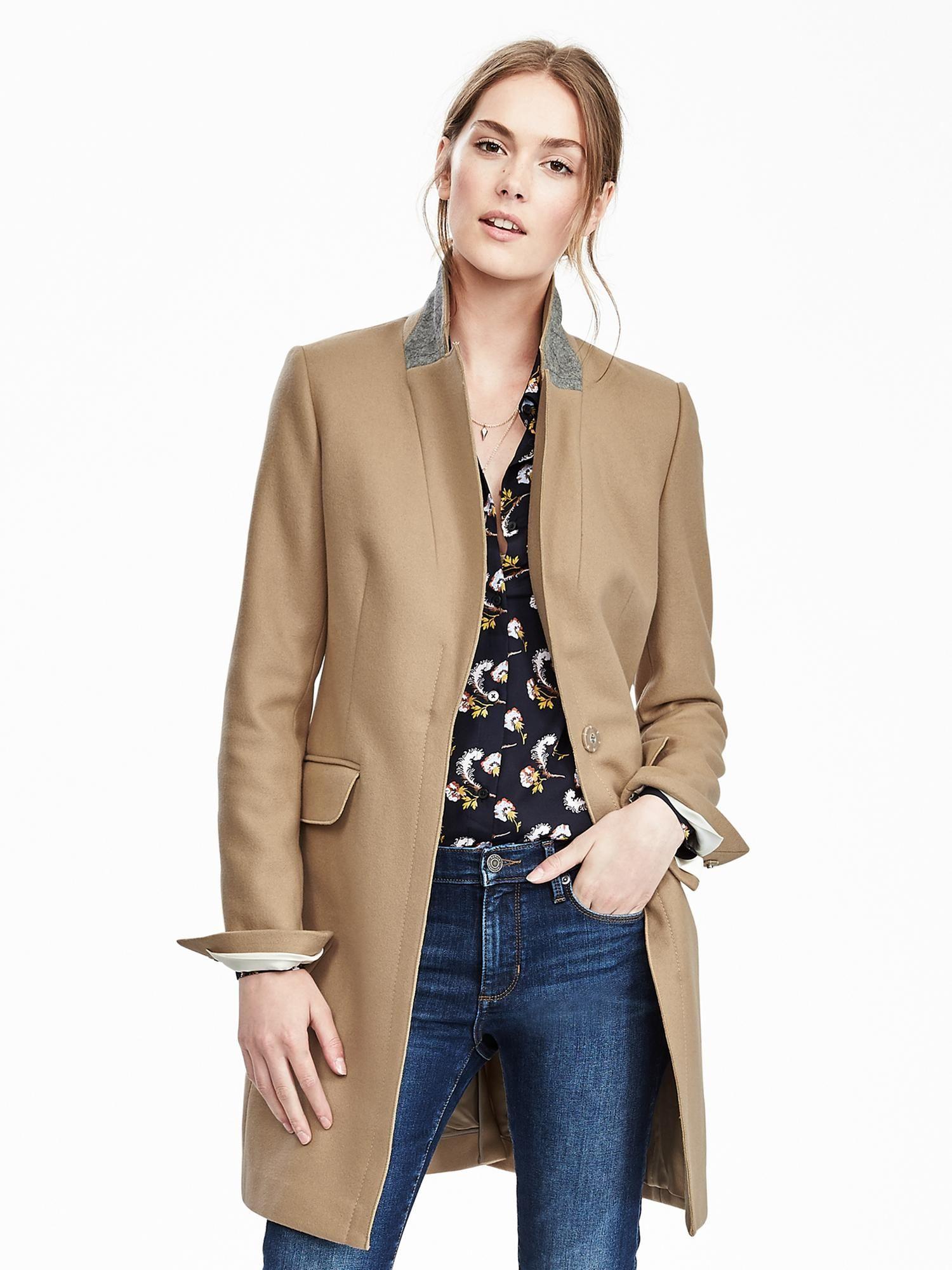 Banana Republic Melton Wool Buttoned Top Coat in Camel