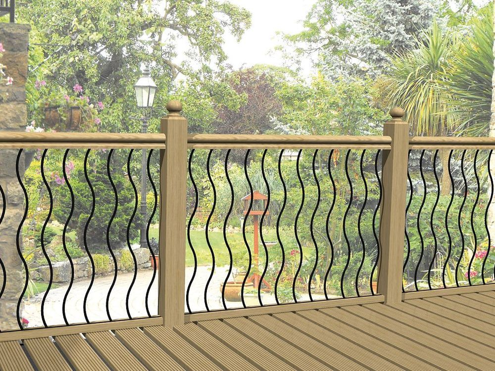 Charmant Metal Garden Decking Railing Panels / Patio Rails / Steel Balustrade Fencing